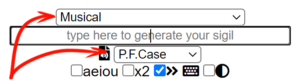 "Select ""Musical"" from the first dropdown and ""P.F.Case"" from the second dropdown"