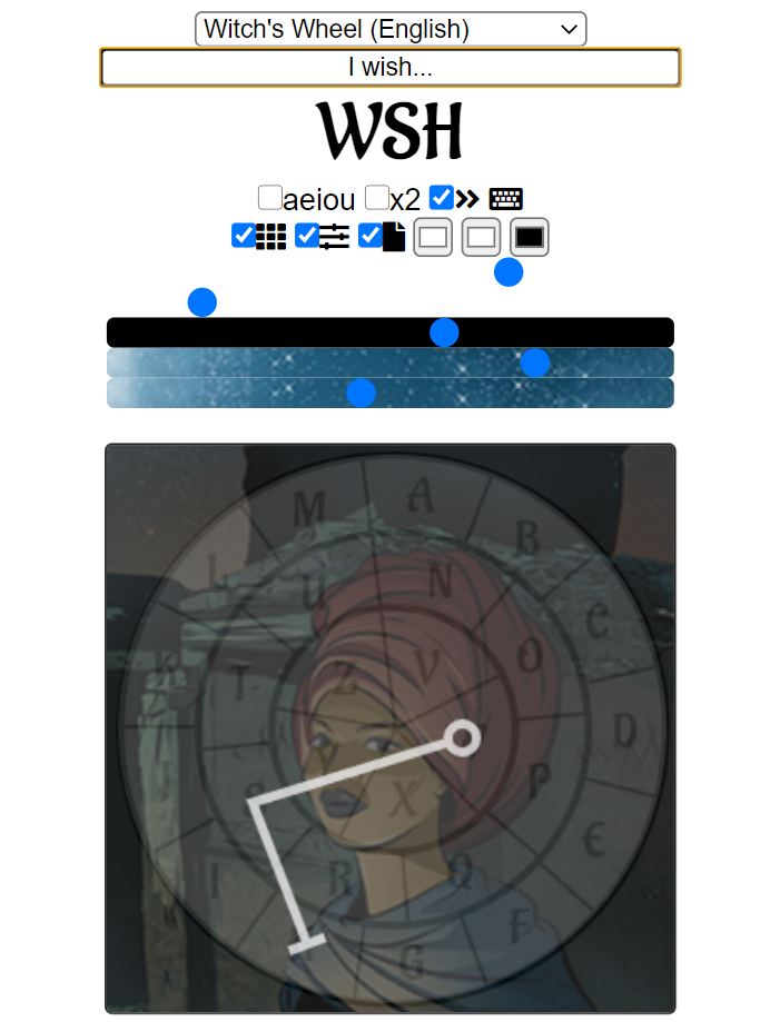 sigil generator creating a sigil from english, using a witch's wheel kamea, and the witch card from The Forty Servants